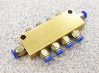Разветвитель латунный для системы смазки 4 выходов - проходной