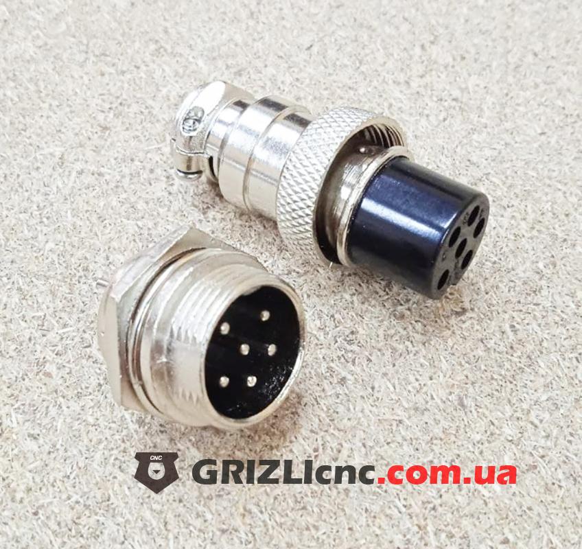 Разьем цилиндрический GX16 6pin (мама+папа) | Фото: 1